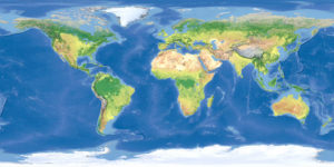 Terrain map of the world from satellite view